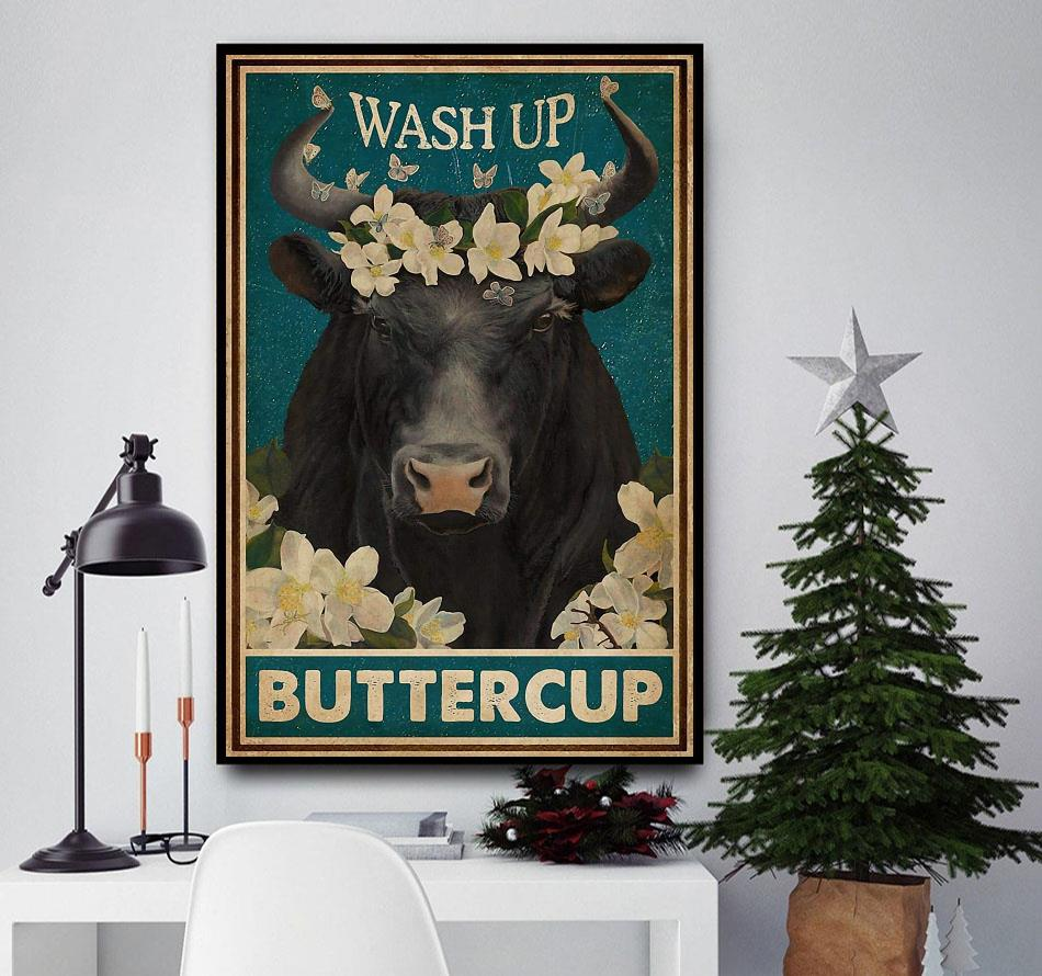 Bull Cattle wash up buttercup poster