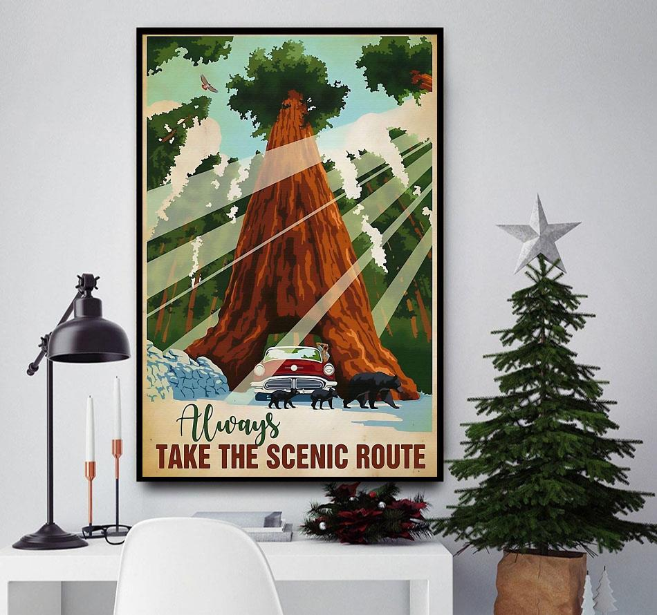 Camping always take the scenic route vertical poster