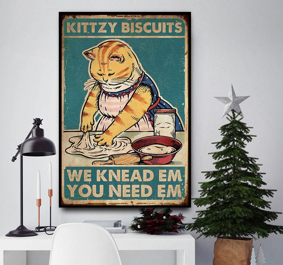 Cat kittzy biscuits we knead em you need em canvas