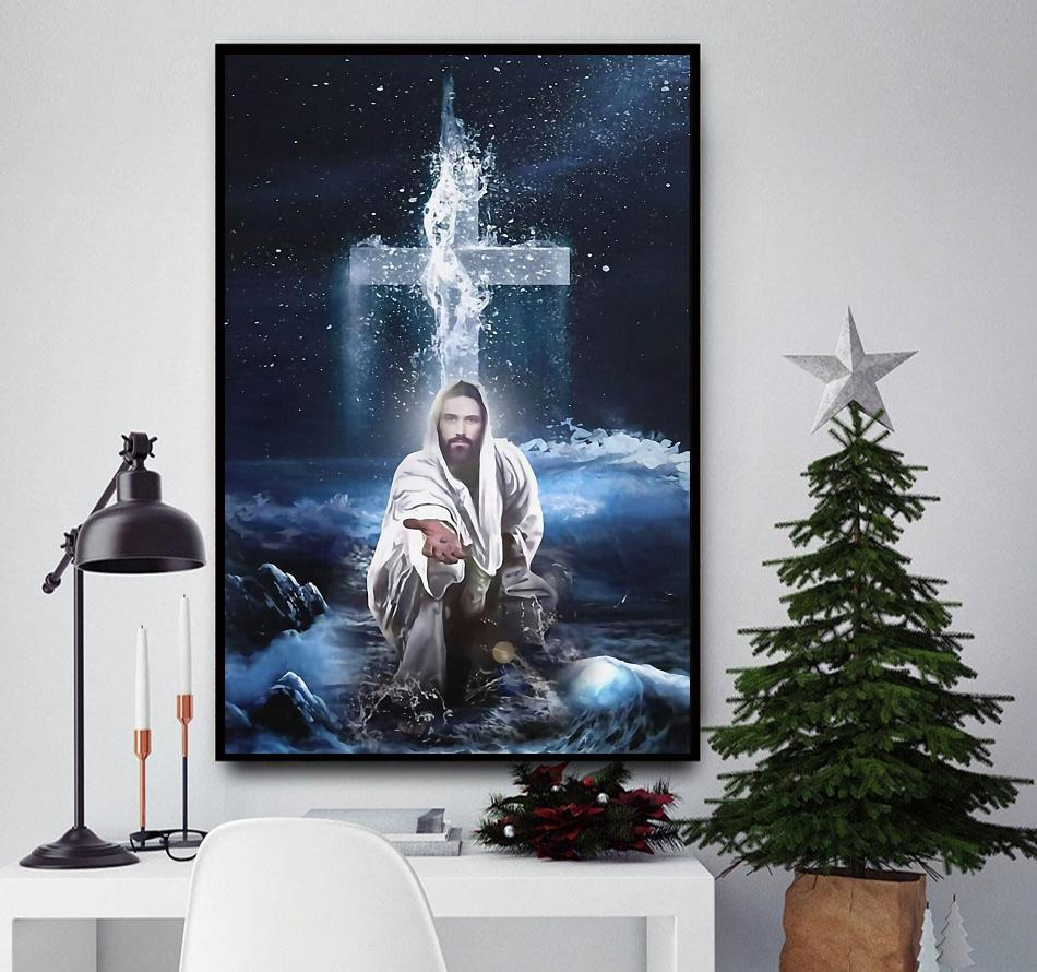 Christ reaching through the water poster canvas