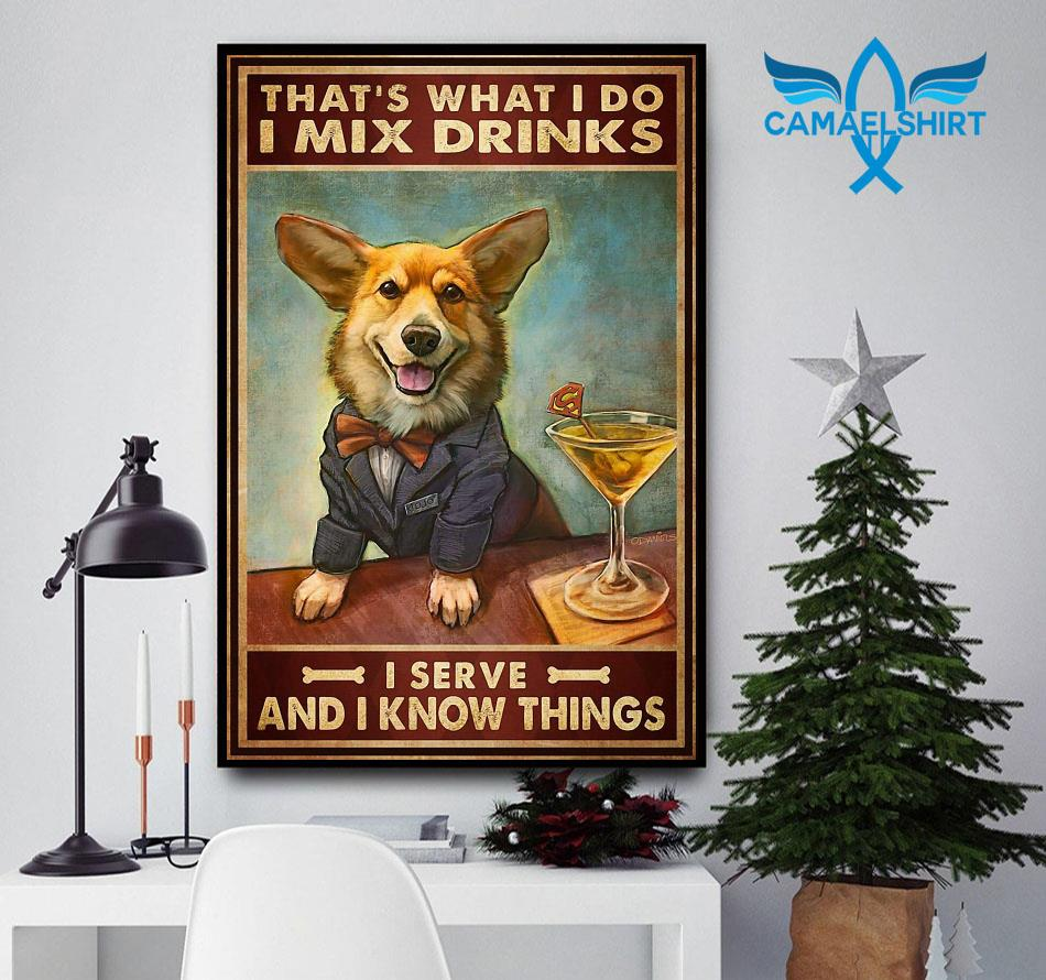 Corgi mixs drink and serve and know things poster