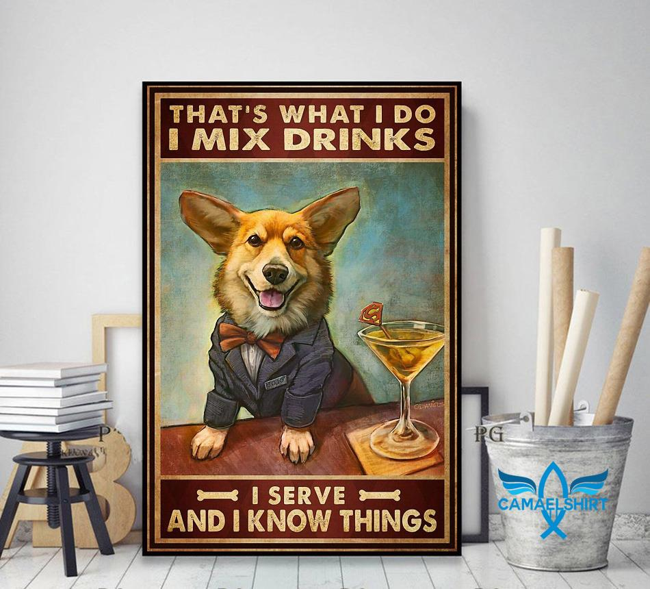 Corgi mixs drink and serve and know things poster decor art