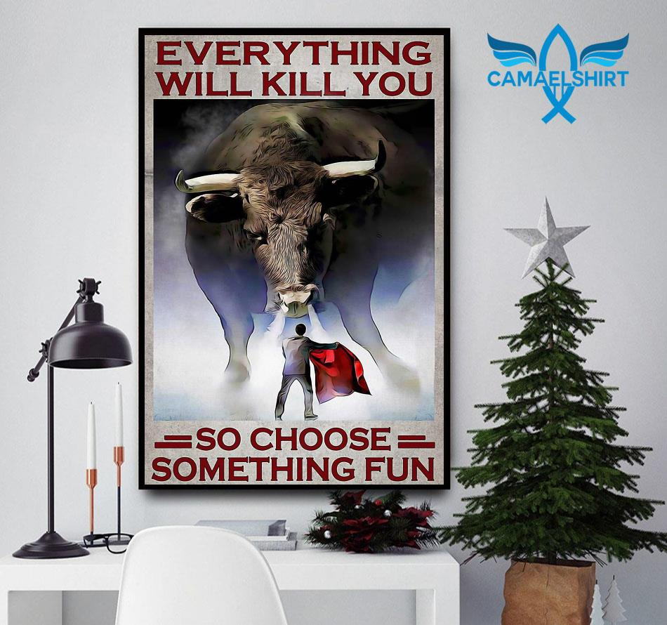 Cow Fight Festival everything will kill you so choose something fun poster