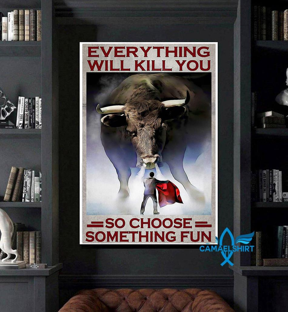 Cow Fight Festival everything will kill you so choose something fun poster art