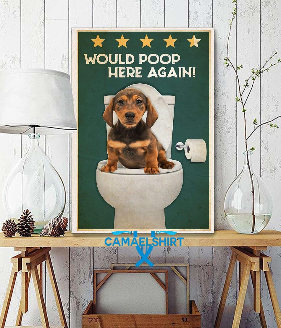 Dachshund would poop here again poster wall decor