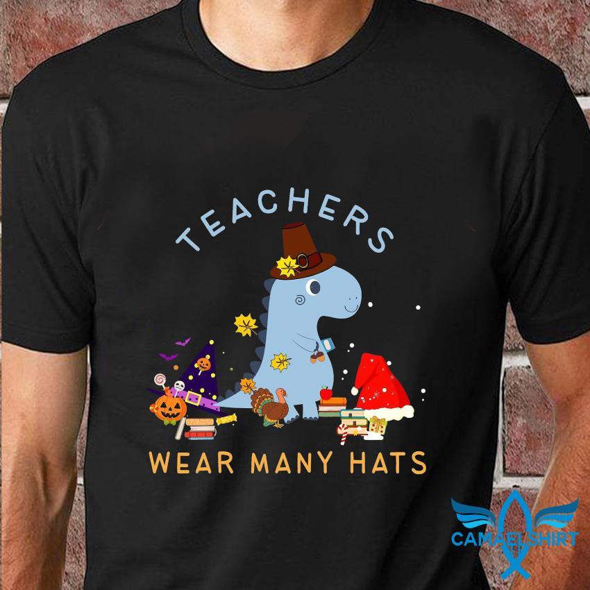 Dinosaur teachers wear many hats t-shirt