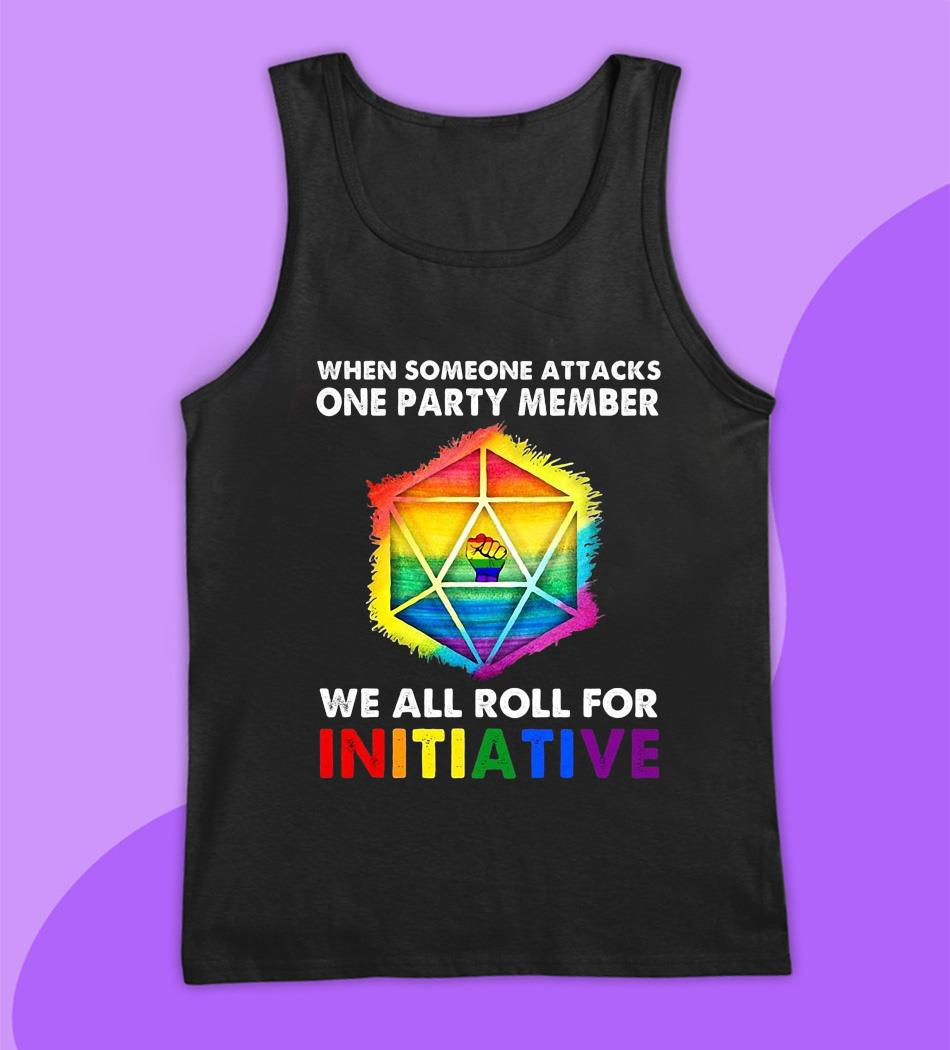 Dungeon LGBT when someone attacks on party member for initiative t-s tank top