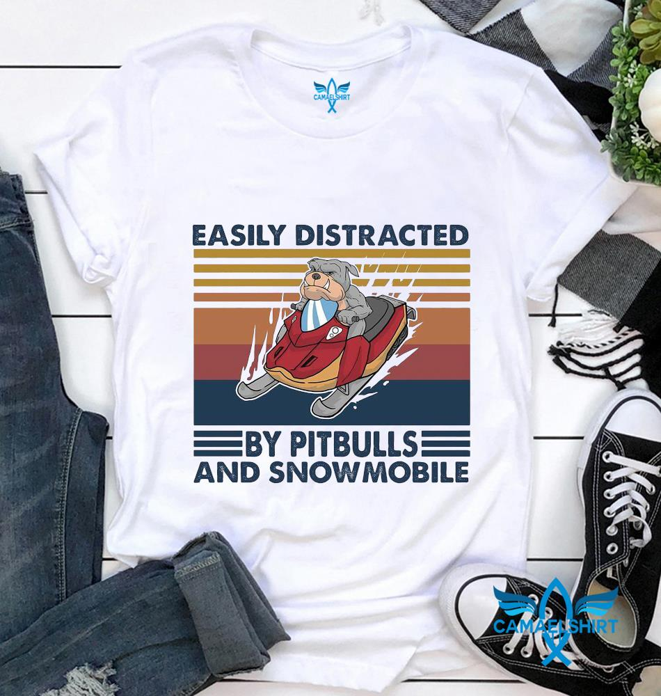 Easily distracted by pitbulls and snowmobile vintage t-shirt
