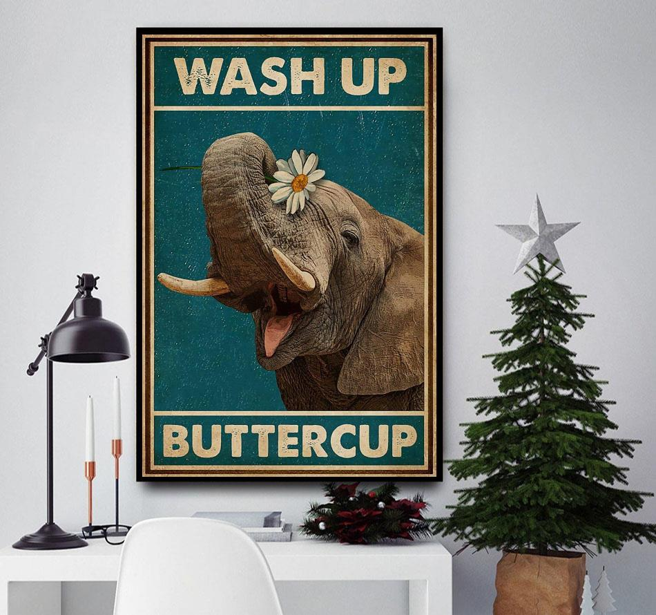Elephant wash up buttercup poster
