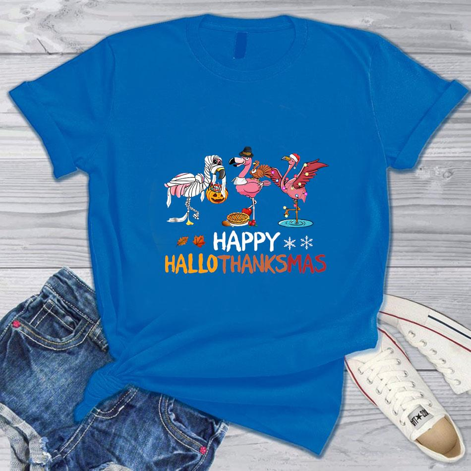 Funny flamingos happy hallothanksmas t-s blue