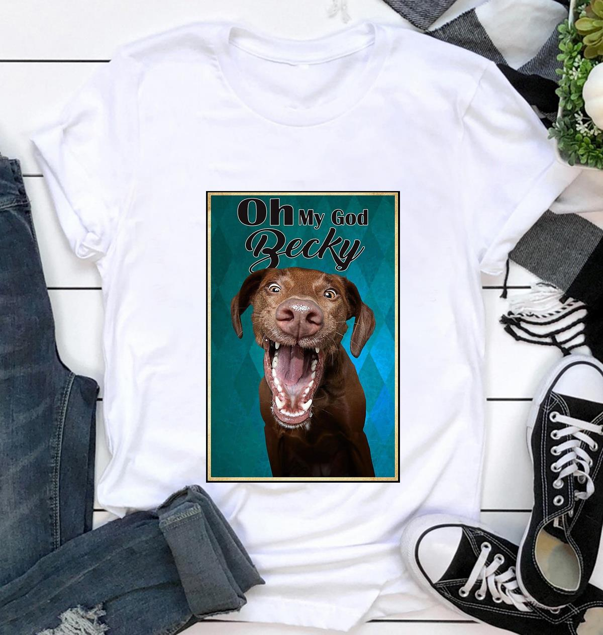 Funny Labrador dog oh my God becky vertical canvas t-shirt