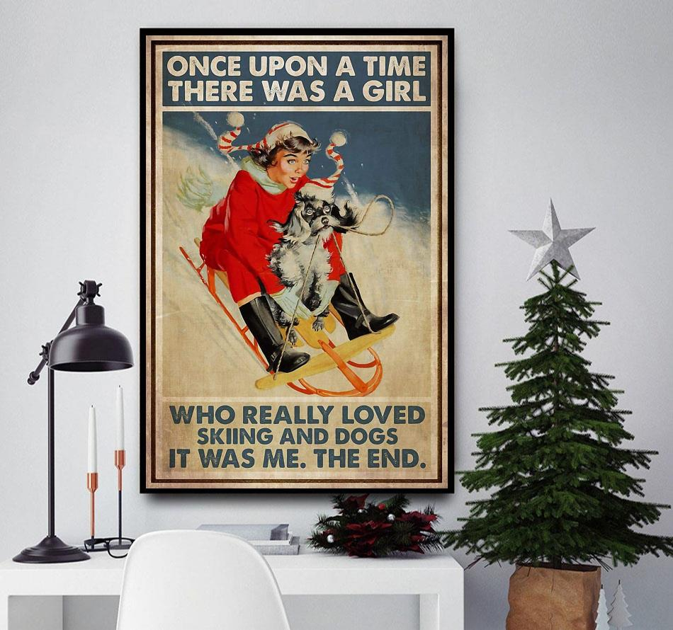 Girl loved skiing and dogs vertical poster