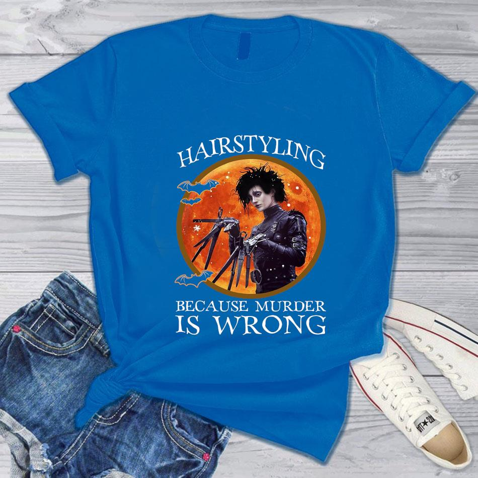 Hairstyling because murder is wrong bloodmoon t-s blue