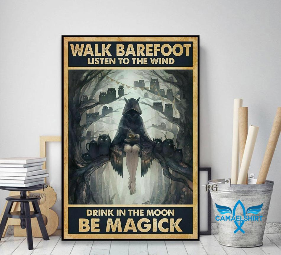 Halloween listen to wind drink in moon be magic poster decor art