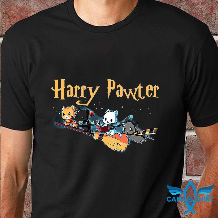 Harry pawter cat broom t-shirt