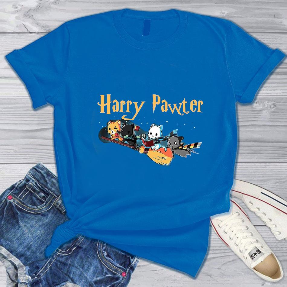 Harry pawter cat broom t-s blue