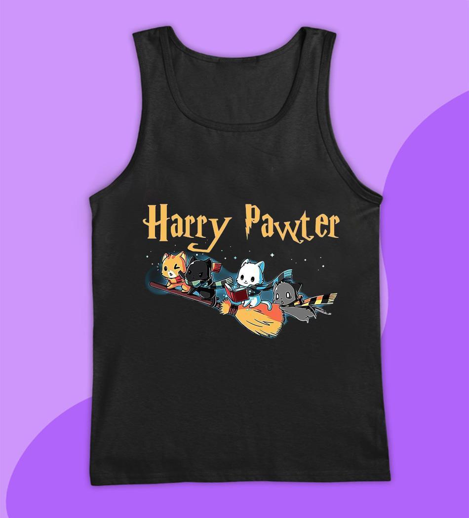 Harry pawter cat broom t-s tank top