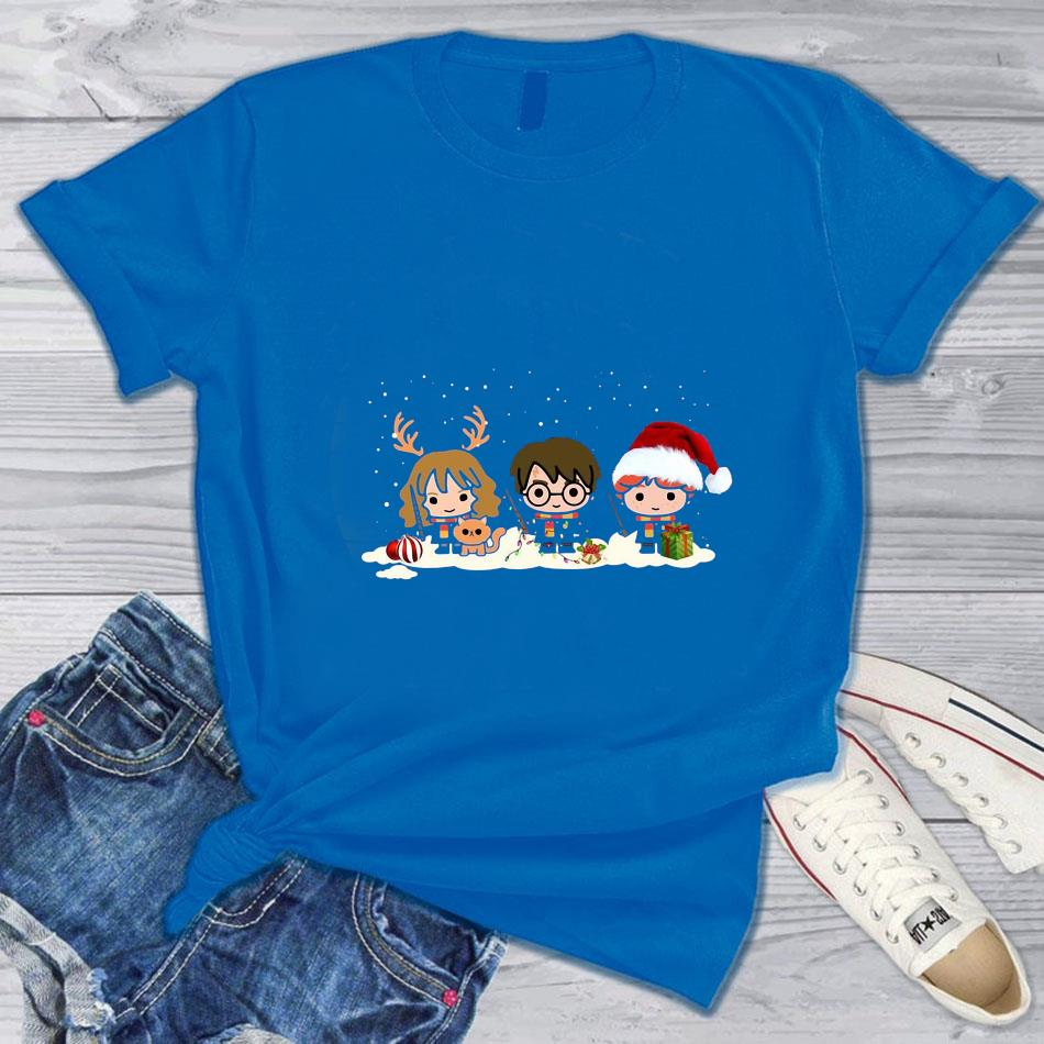 Harry Potter Characters Merry Christmas t-s blue