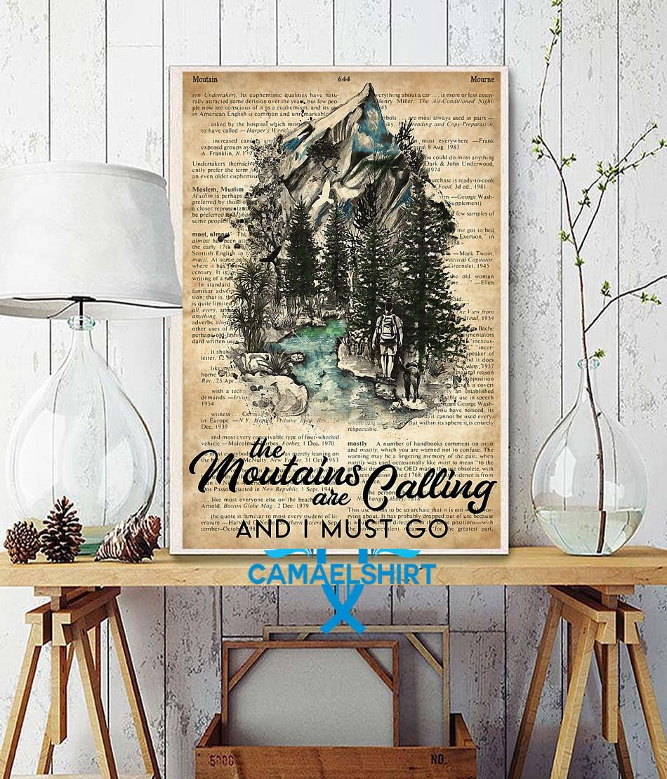 Hiker the mountains are calling I must go poster wall decor