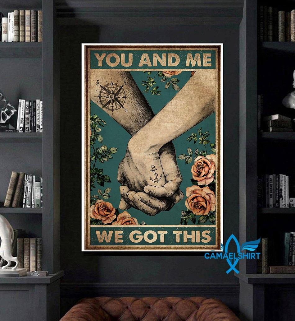 Hiking couple you and me we got this vertical canvas art
