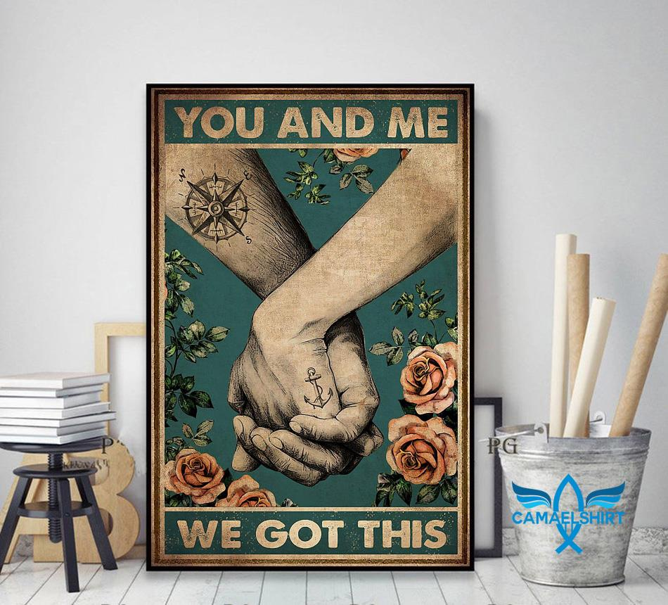 Hiking couple you and me we got this vertical canvas decor art