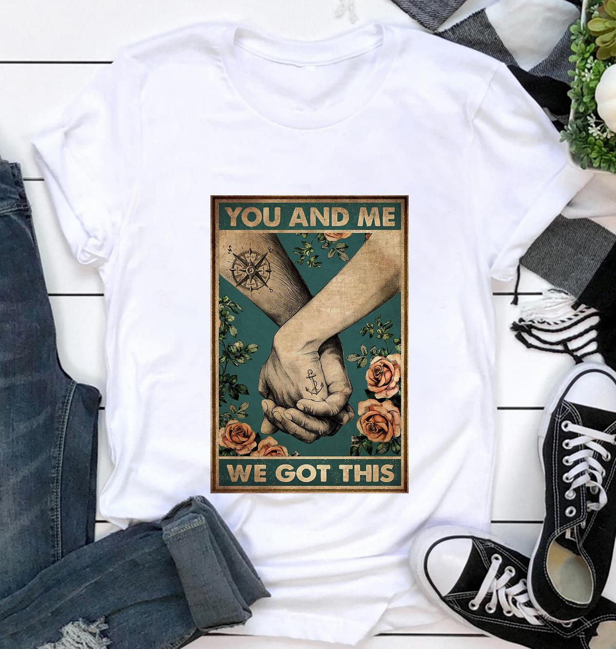 Hiking couple you and me we got this vertical canvas t-shirt