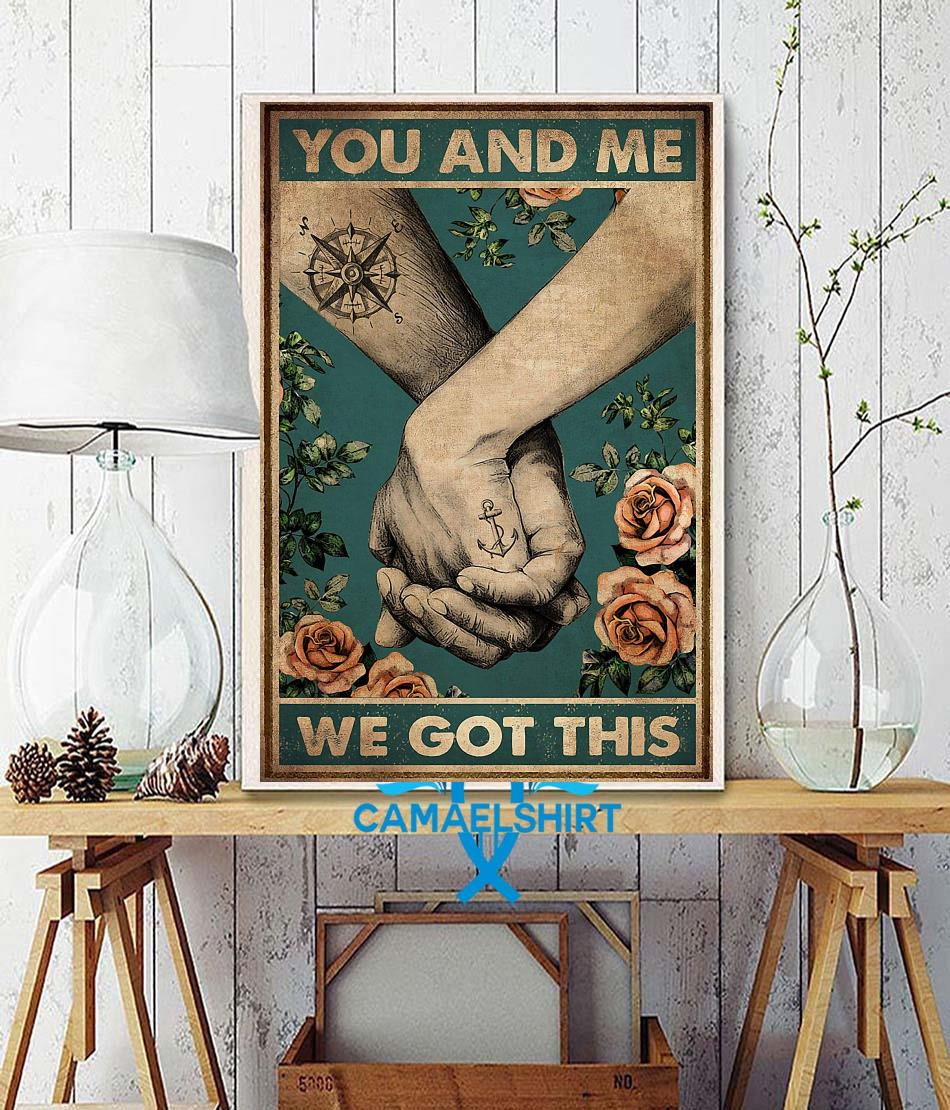 Hiking couple you and me we got this vertical canvas wall decor
