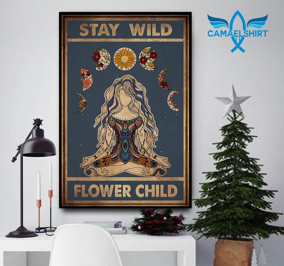 Hippie yoga girl stay wild flower child vertical poster
