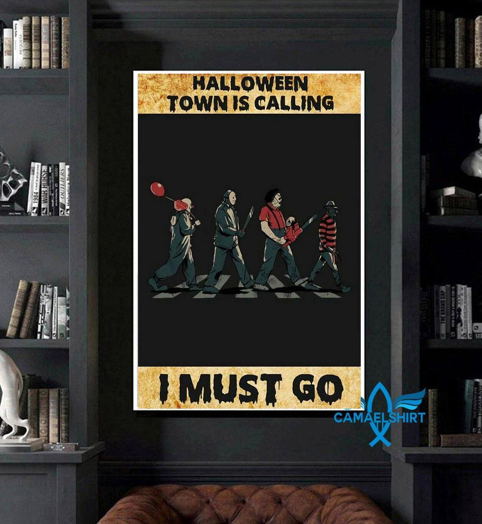 Horror characters halloween town is calling poster art