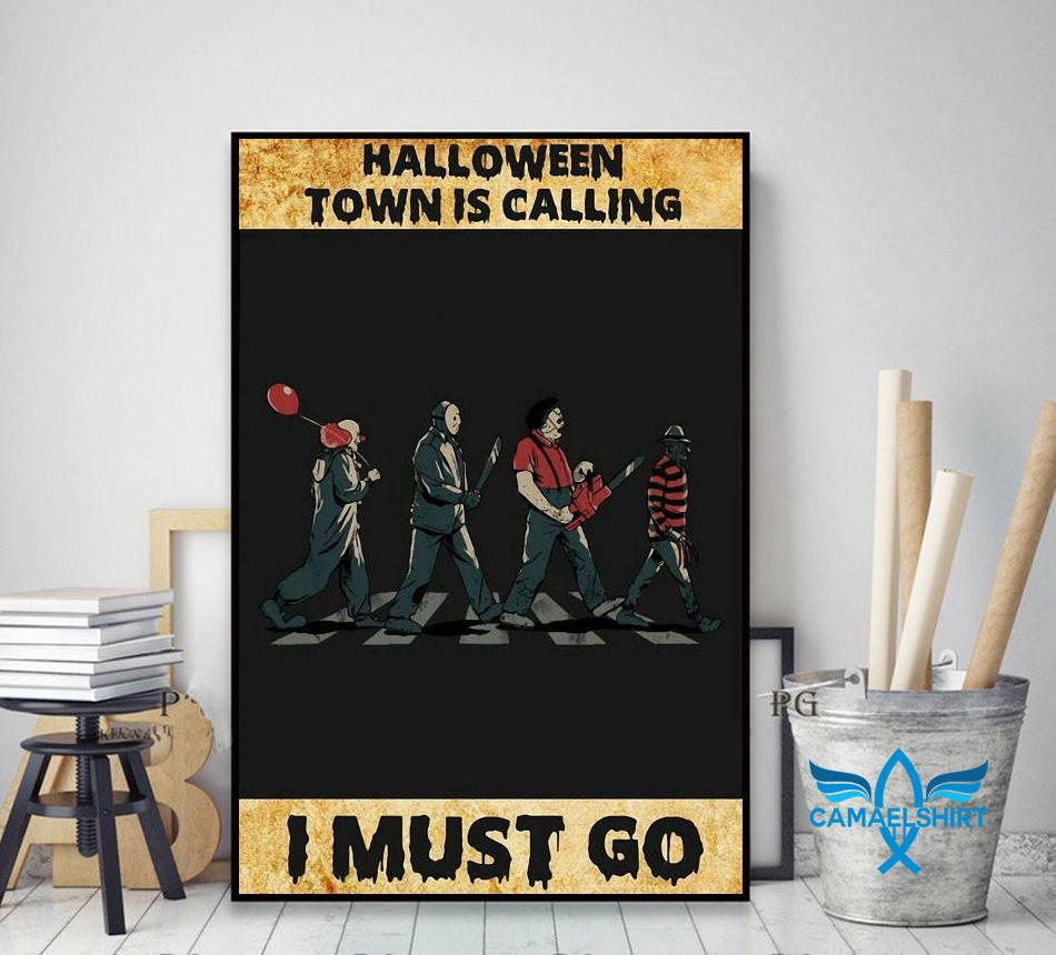 Horror characters halloween town is calling poster decor art