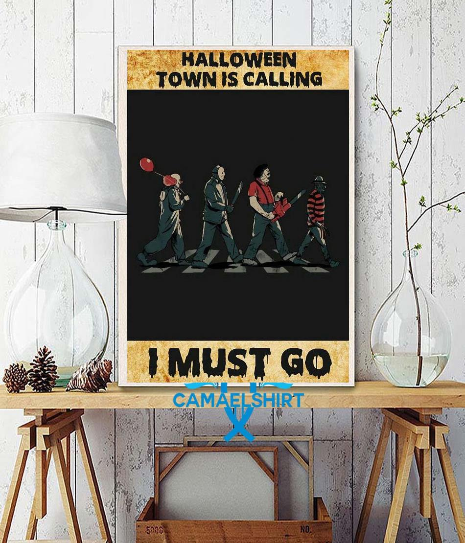 Horror characters halloween town is calling poster wall decor