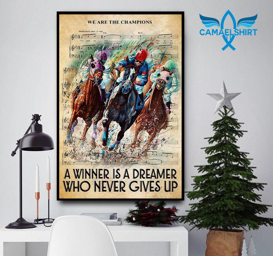 Horse a winner is a dreamer who never gives up vertical canvas