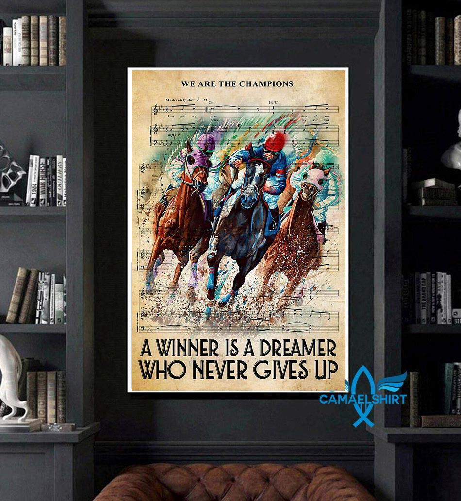 Horse a winner is a dreamer who never gives up vertical canvas art