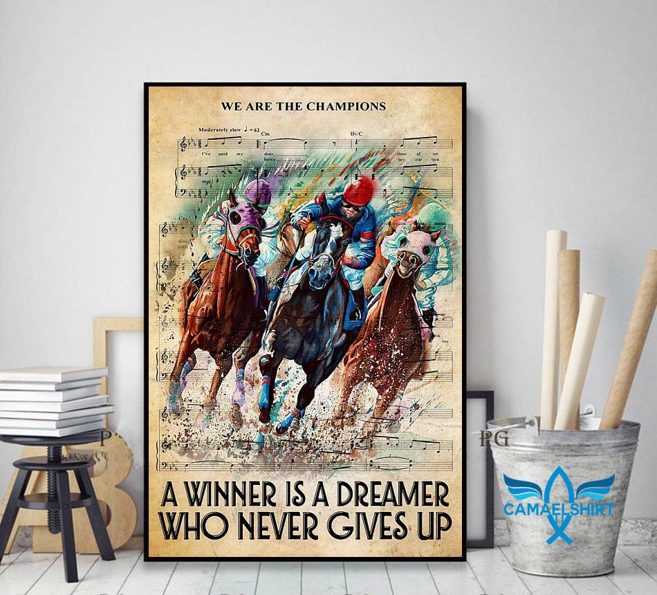 Horse a winner is a dreamer who never gives up vertical canvas decor art