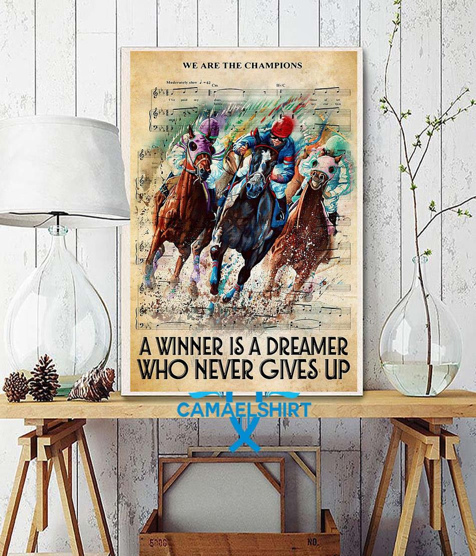 Horse a winner is a dreamer who never gives up vertical canvas wall decor