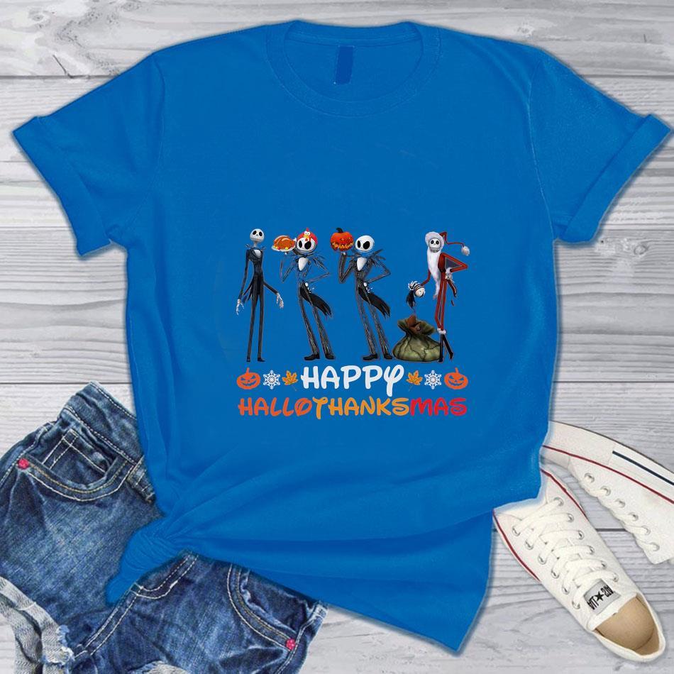 Jack Skellington mashup Santa Claus Hallothanksmas t-s blue