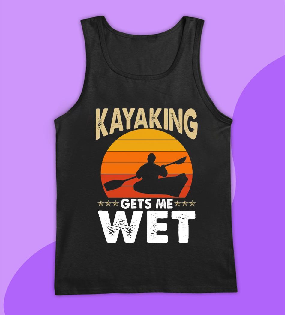 Kayaking gets me wet sunset t-s tank top