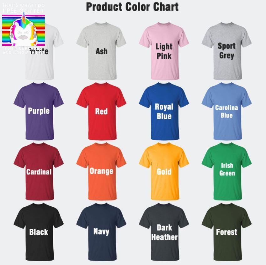 LGBT that's what I do I pee glitter I shit cupcakes Unicorn retro t-shrit Camaelshirt Color chart