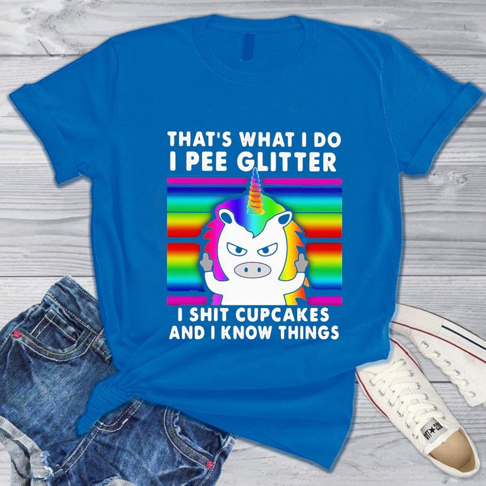 LGBT that's what I do I pee glitter I shit cupcakes Unicorn retro t-shrit blue