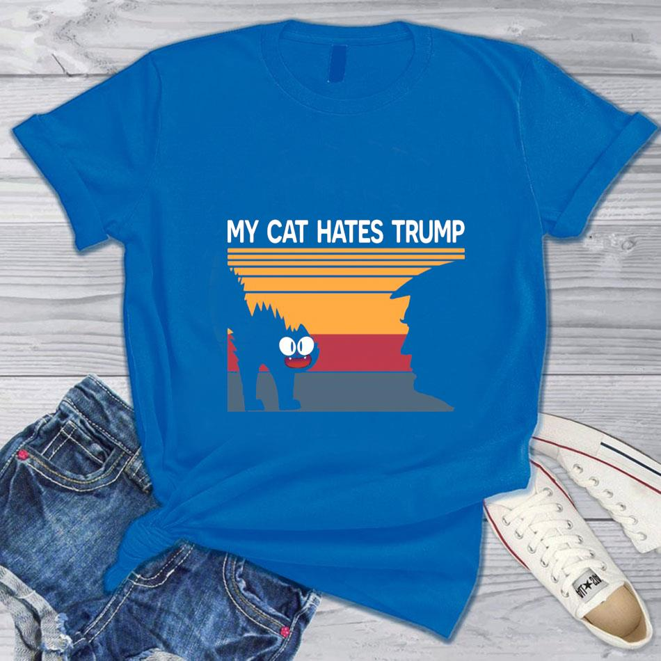 My cat hates trump retro vintage t-s blue