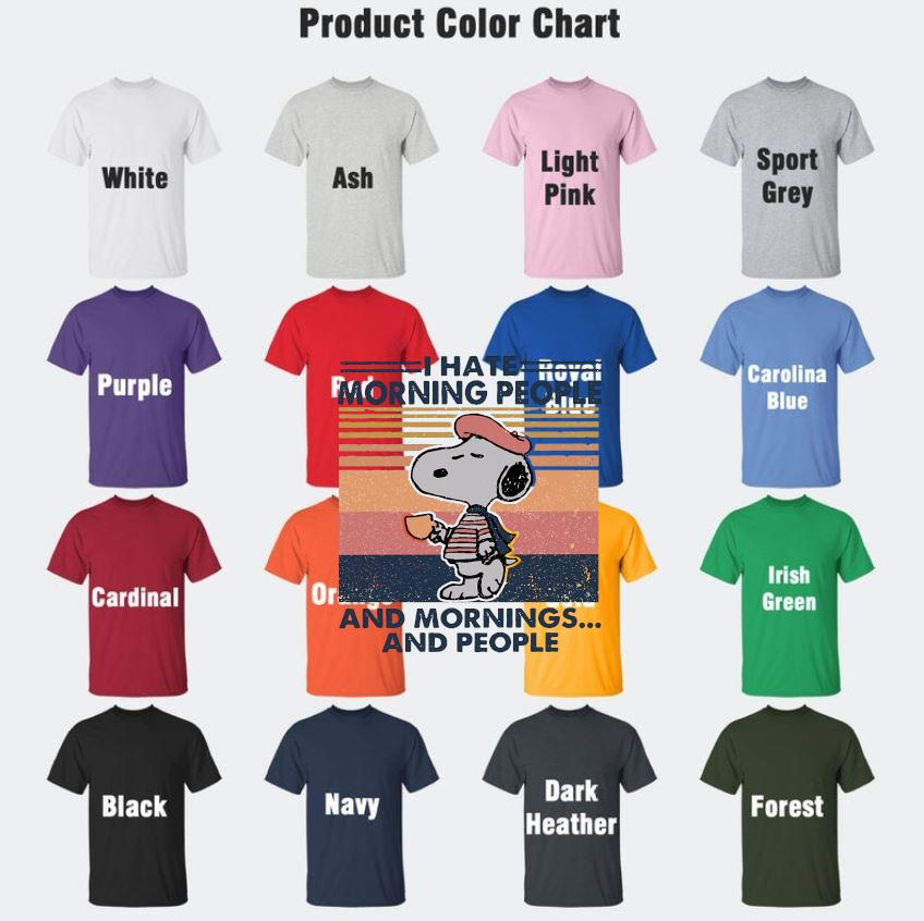 Snoopy I hate morning people and mornings and people vintage t-s Camaelshirt Color chart
