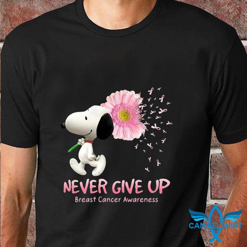 Snoopy sunflower pink ribbon never give up breast cancer t-shirt