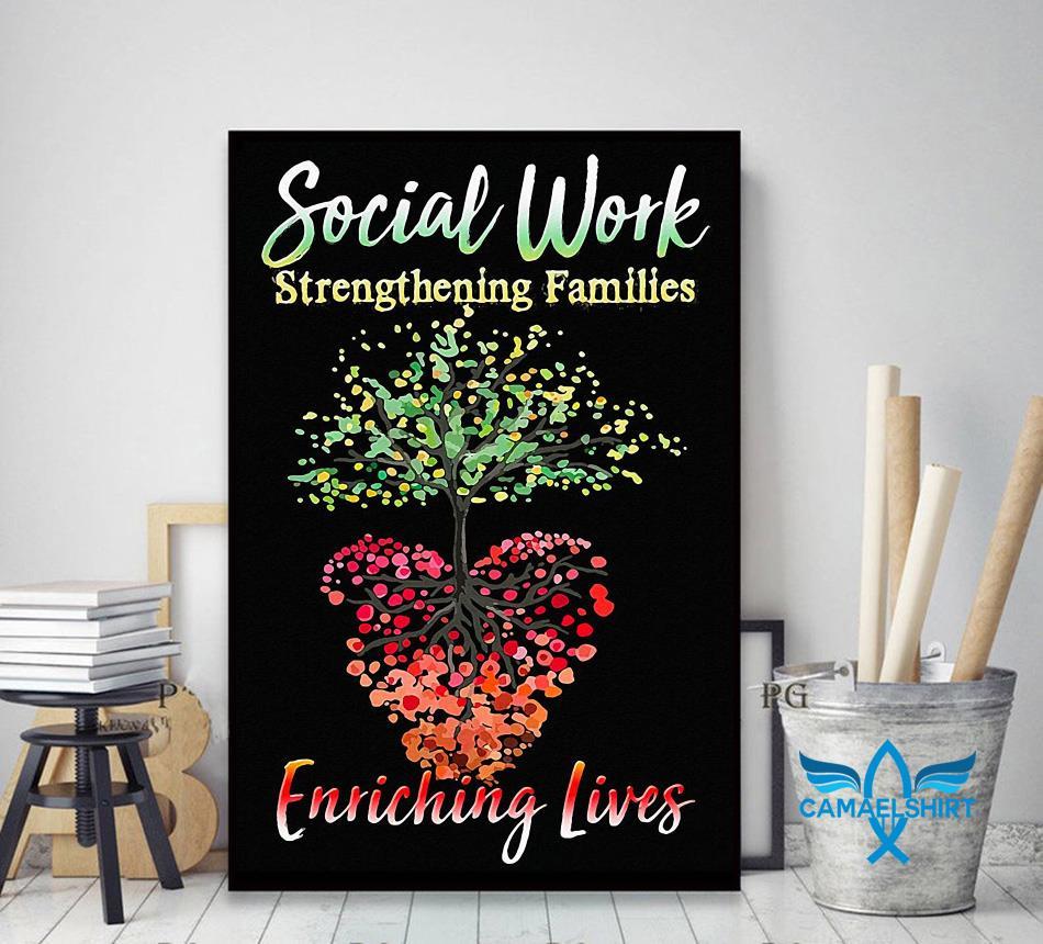 Social work strengthening families enriching lives poster canvas decor art
