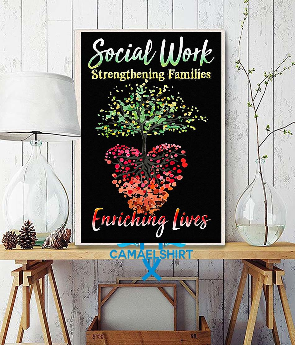 Social work strengthening families enriching lives poster canvas wall decor