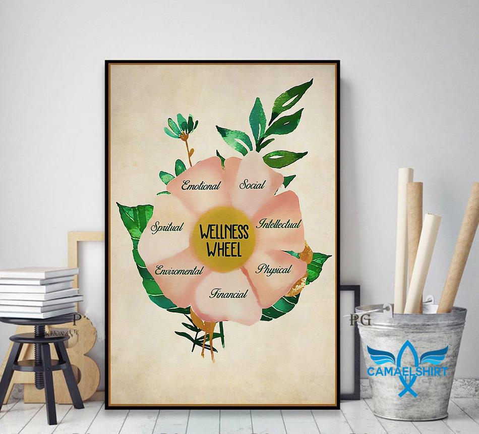 Social worker wellness wheel poster decor art