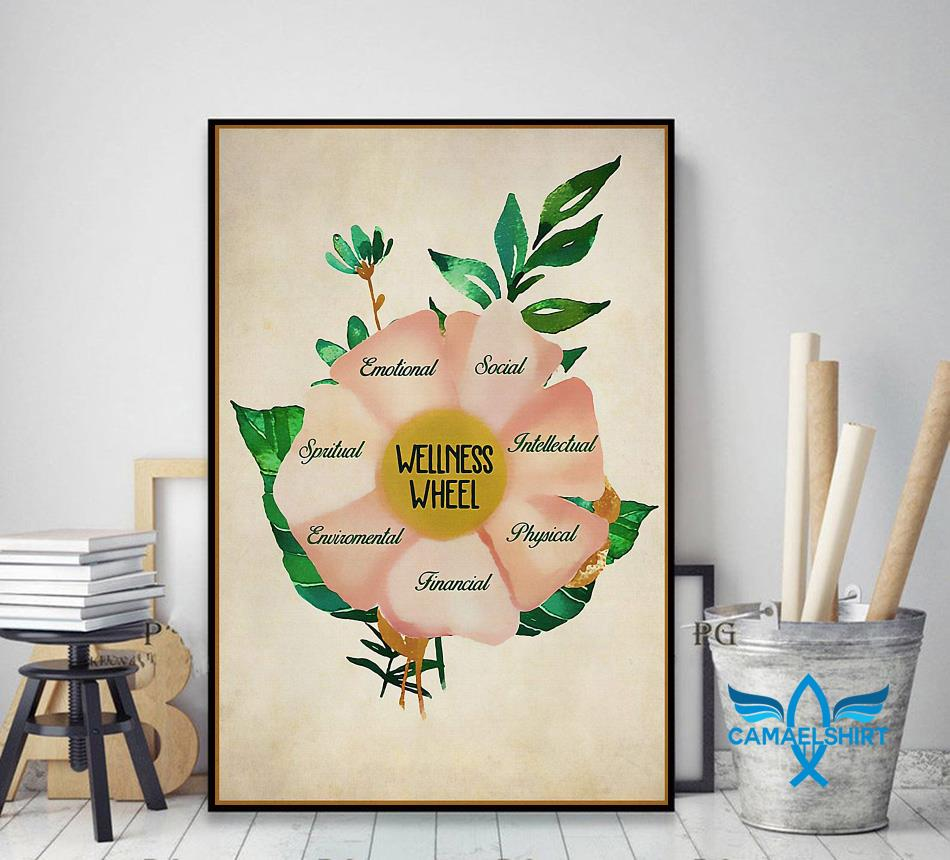 Social worker wellness wheel poster decor art
