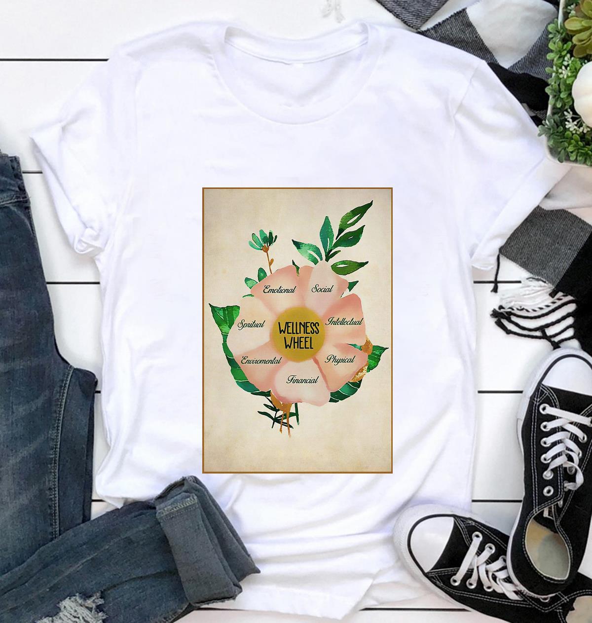 Social worker wellness wheel poster t-shirt