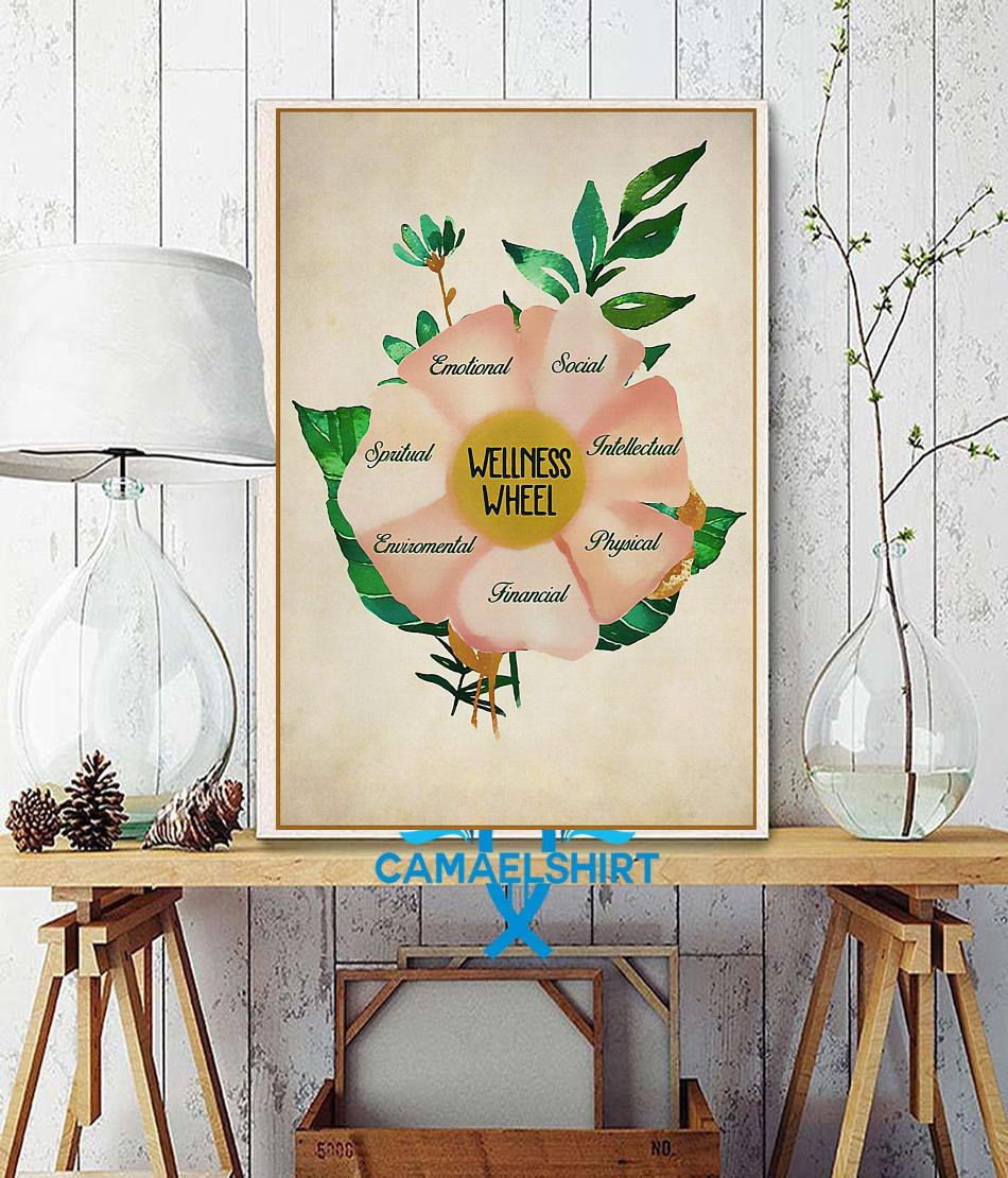 Social worker wellness wheel poster wall decor