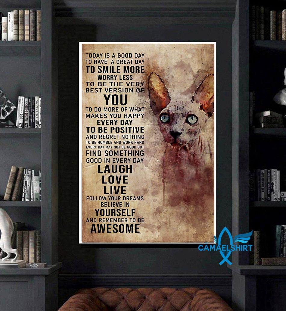 Sphynx cat today is a good day poster art