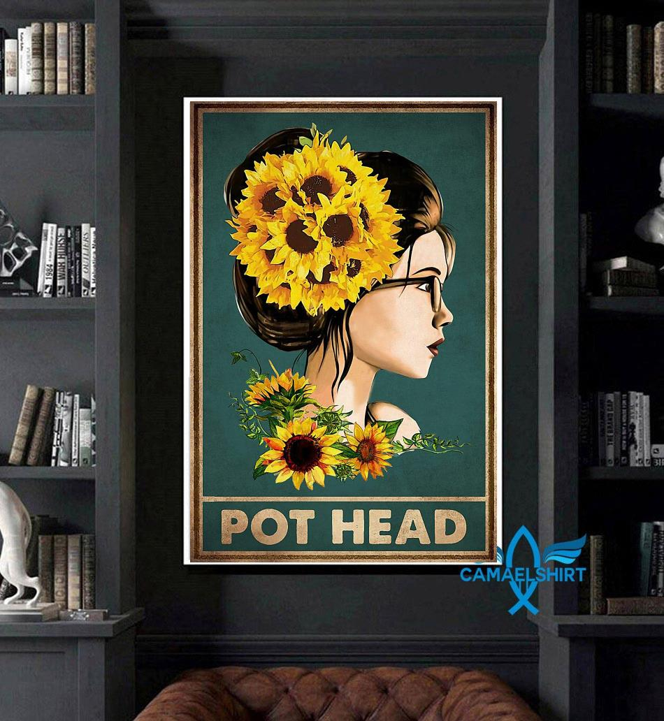 Sunflower girl pot head poster art